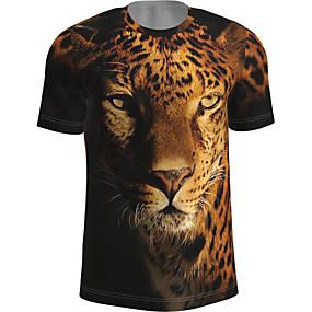 cheap Athleisure Wear-Men's T shirt Graphic Animal Print Short Sleeve Daily Tops Basic Yellow