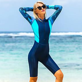 billige Trening, fitness og yoga-Dame Tettsittende dykkerdrakt Elastan Bodysuit UV Solbeskyttelse Pustende Fort Tørring Langermet Forside Glidelås - Svømming Dykking Vannsport Lapper Høst Vår Sommer / Elastisk