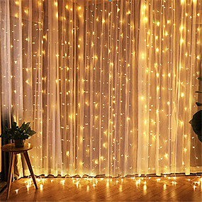 cheap Plug in Electric-3x3M LED Curtain String Lights Fairy Light Garland For Garden Home Party Curtain Christmas Wedding Valentine's Day Decoration With EU Round Plug