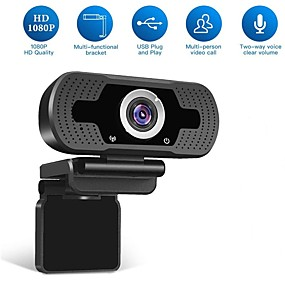 cheap Computer & Office-HD USB Webcam 1080p 90° Degree Super Wide Angle Range Low Light Gain Dual Microphones Adjustable Business Conference Webcam Plug and Play No Need Driver Support Windows 7 8 10 Linux MacOS