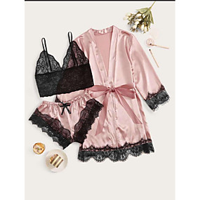 cheap Suits-Women's Lace Bow Robes Suits Nightwear Patchwork Embroidered Purple / Blushing Pink S M L