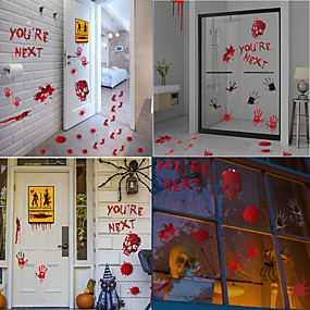 cheap Halloween Toys-Halloween Party Toys Window Sticker Wall Stickers 9 pcs Horror Blood Handprint Mischief Paper Kid's Adults Trick or Treat Halloween Party Favors Supplies
