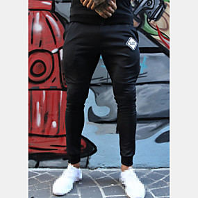 cheap Yoga & Fitness-Men's Sweatpants Joggers Track Pants Athleisure Bottoms Drawstring Cotton Winter Fitness Gym Workout Performance Running Training Breathable Quick Dry Soft Normal Sport Black Black+White