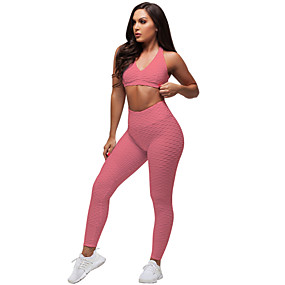 cheap Women's Activewear-Women's 2 Piece Tracksuit Yoga Suit Ruched Butt Lifting White Black Red Spandex Fitness Gym Workout Running High Waist Leggings Bra Top Sport Activewear Tummy Control Butt Lift 4 Way Stretch