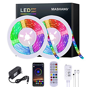 cheap APP Control-5M 10M 15M 20M LED Strip Lights RGB Waterproof LED Light Strip Music Sync LED 2835 SMD Color Changing LED Strip Light and 24 Keys Remote Bluetooth Controller for Bedroom Home TV Back Lights