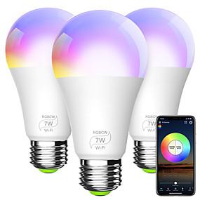 billige LED smartpærer-smart lyspære a19 e26 rgbcw wifi dimbar flerfarget ledlys som er kompatibel med alexa google home og ifttt (ingen hub kreves) 7w (60w ekvivalent)