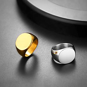 billige Graverte Ringer-personlig tilpasset Ring Rustfritt Stål Oval 1 stk / pakke Gylden Sølv
