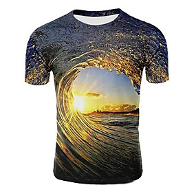 cheap Casual Wear-Men's T shirt Galaxy Graphic 3D Plus Size Print Short Sleeve Casual Tops Light Purple Light Brown Dark Green