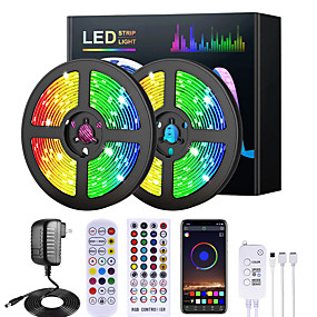 cheap LED Strip Lights-5M 10M 15M 20M RGB LED Strip Lights Music Sync 12V Waterproof LED Strip 2835 SMD Color Changing LED Light with Bluetooth Controller and 100-240V Adapter for Bedroom Home TV Back Light DIY Deco