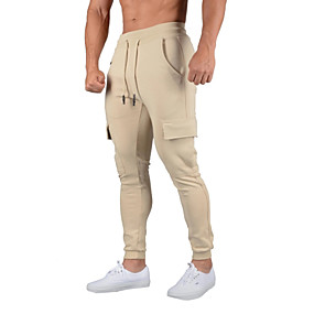 cheap Running & Jogging-Men's Sweatpants Joggers Track Pants Athleisure Bottoms Drawstring Cotton Winter Fitness Gym Workout Performance Running Training Breathable Quick Dry Soft Normal Sport Black Grey Khaki