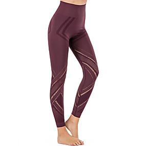cheap Yoga & Fitness-Women's Yoga Pants Seamless Cropped Leggings Tummy Control Butt Lift Breathable Black Burgundy Blue Nylon Yoga Fitness Running Winter Sports Activewear Stretchy