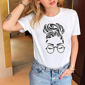 cheap Athleisure Wear-Women's T shirt Portrait Print Round Neck Basic Tops 100% Cotton White Black Yellow