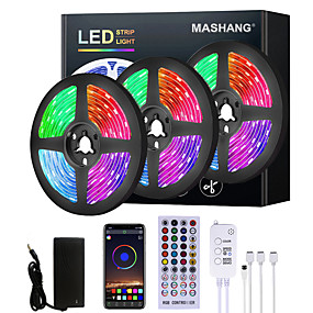 baratos Controle por Aplicativo-Mashang 5m 10m 15m 20m led strip lights rgb led light strip sincronização de música led strip 2835 smd mudança de cor led strip light e 40 keys remote bluetooth controller for bedroom home tv back
