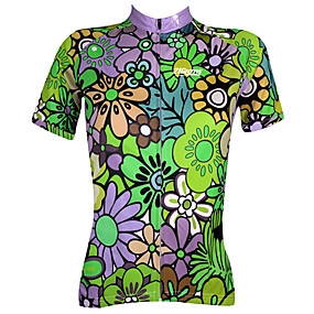 cheap Cycling & Motorcycling-21Grams Women's Short Sleeve Cycling Jersey Summer Polyester Blue+Green Purple Blue Floral Botanical Plus Size Bike Jersey Top Mountain Bike MTB Road Bike Cycling Ultraviolet Resistant Quick Dry