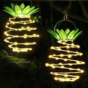 billige Soldrevne LED-lamper-ananas utendørs sollys lys vanntett hagelys solenergi landskap spotlight for hage gårdsplass svømmebasseng gårdsplass varm hvit 24 led