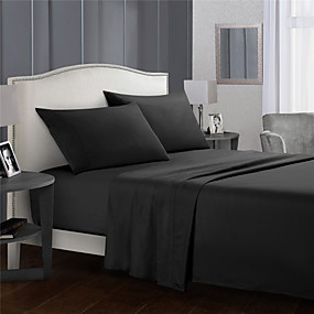 cheap Sheet Sets & Pillowcases-4 Piece Solid Color Bedding Sheets-Deep Pocket Warm-Super Soft-Breathable & Moisture Wicking Bed Sheets Set Include 1 Flat Sheet 1 Fitted Sheet 1 or 2 Pillowcases