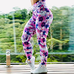 cheap Exercise, Fitness & Yoga-Women's High Waist Yoga Pants Leggings Butt Lift Quick Dry Rainbow Gym Workout Running Fitness Sports Activewear High Elasticity Skinny