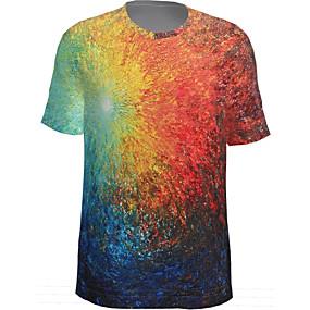 cheap Athleisure Wear-Men's T shirt Graphic Short Sleeve Daily Tops Basic Rainbow
