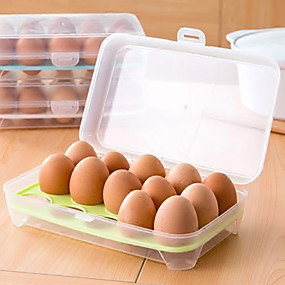 cheap Kitchen Storage-Refrigerator Egg Box Food Storage Tray Grid Kitchen Transparent Plastic Put