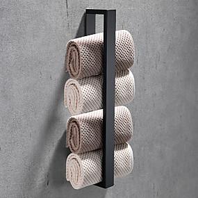 cheap Golden Bathroom-16-Inch Stainless Steel Bathroom Towel Holder, Self Adhesive Bath Towel Rack,  Wall Mounted, Contemporary Style Bathroom Hardware Accessories Towel Bar, Rustproof, 3 Colors, Matte Black, Brushed, Poli