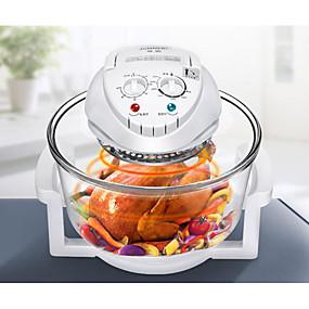 halpa Keittiökoneet-halogeeniuuni-rasvakeitin max 12l 1300-wattinen kuuma kuumarasvakeittouuni& amp; öljytön liesi grillin paistamiseksi ei-tikku pyörivä ohjaus sähköinen katkaisukahva borosilikaattilasi