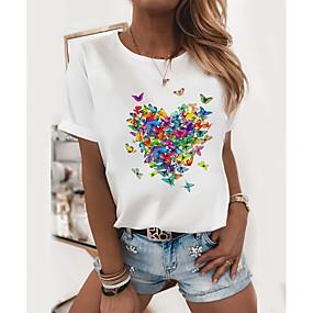 cheap Women-Women's T shirt Butterfly Round Neck Basic Tops 100% Cotton Black and Green Butterfly Cat