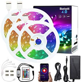 رخيصةأون ضوء ذكي LED-KWB 4x5M مجموعات ضوء أضواء RGB بشكل شريط أضواء الذكية 600 المصابيح SMD5050 10mm 1 × 1 إلى 4 كابل موصل 1SET RGB أب التحكم قابل للقص قابلة للربط 12 V / اللصق التلقي