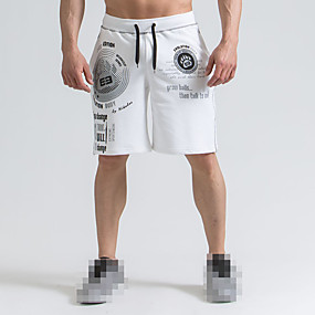 cheap Running & Jogging-Men's Running Shorts Athleisure Bottoms Split Drawstring Cotton Fitness Gym Workout Performance Running Training Breathable Quick Dry Soft Normal Sport White Yellow Red / Micro-elastic