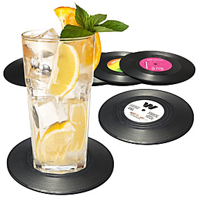 cheap Wine Accessories-Record Disk Coasters for Drinks  Cocktail Mixing Drinkware Beer 6 Pack - Preventing Tabletop from Damage