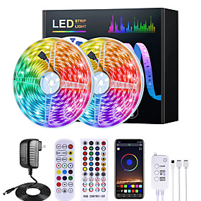 baratos Controle por Aplicativo-Mashang 5m 10m 15m 20m rgb led strip lights music sync 12v waterproof led strip 5050 smd color change led light with bluetooth controller and 100-240v adapter for bedroom home tv back light diy deco