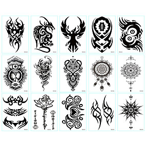 cheap Tattoo Stickers-LITBest 6 Sheets Randomly Temporary Tattoos Stickers Fake Arm Chest Shoulder Tattoos Tiny Black Temporary Tattoos  for Men TBS8010-TBS8019