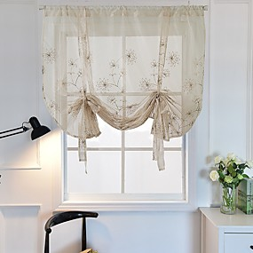 cheap Sheer Curtains-Thermal Insulated Blackout Sheer Curtain - Bathroom Curtain Grey Tie Up Shade for Small Window, Window Valance Balloon Blind
