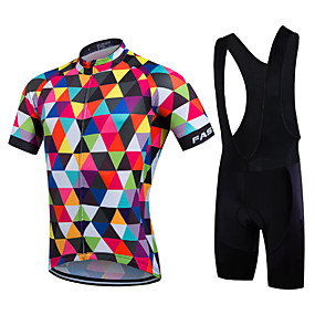 cheap Cycling & Motorcycling-21Grams Men's Short Sleeve Cycling Jersey with Bib Shorts Summer Coolmax® Lycra Multi color Rainbow Geometic Bike Jersey Bib Tights Clothing Suit Quick Dry Breathable Back Pocket Sports Rainbow Road