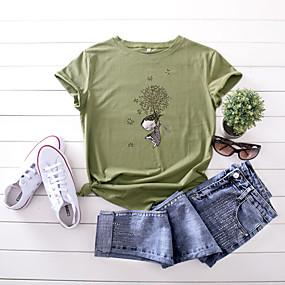 cheap Athleisure Wear-Women's T shirt Rainbow Graphic Text Print Round Neck Basic Tops 100% Cotton Dark-Gray Wine red 2 Dark Green