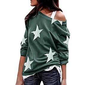 cheap Athleisure Wear-Women's T shirt Galaxy Long Sleeve Round Neck Tops Gray