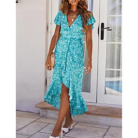 povoljno Wrap Dress-Žene Ljetna haljina Maks haljina - Kratkih rukava Cvjetni print Print Ljeto V izrez mumu Dnevno 2020 Plava S M L XL
