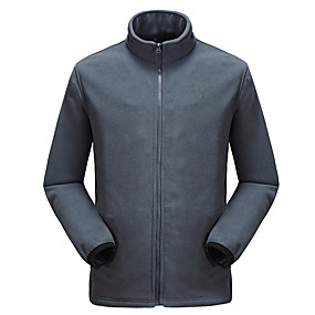 cheap Camping, Hiking & Backpacking-Men's Hiking Fleece Jacket Autumn / Fall Winter Spring Outdoor Solid Color Windproof Fleece Lining Warm Breathable Winter Fleece Jacket Full Length Visible Zipper Hunting Fishing Climbing Dark Grey