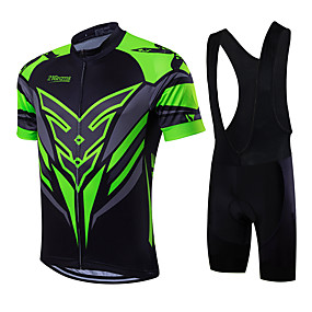 cheap Cycling & Motorcycling-21Grams Men's Short Sleeve Cycling Jersey with Bib Shorts Summer Coolmax® Lycra Green / Black Yellow Red Bike Clothing Suit Quick Dry Breathable Back Pocket Sweat wicking Sports Patterned Mountain