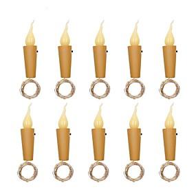 povoljno Setovi svjetlosnih nizova-2m Savitljive LED trake Žice sa svjetlima 20 LED diode SMD 0603 10pcs Toplo bijelo Božić Novogodišnji Vodootporno Party Ukrasno Baterije su pogonjene