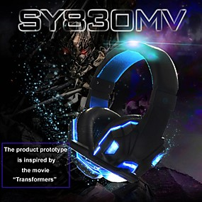 cheap Gaming Headsets-Soyto SY830MV Gaming Headset USB and 3.5mm Headphones Microphone Combo Cable LED Headphones E-sport for PC Computer PS4 XBOX Gaming