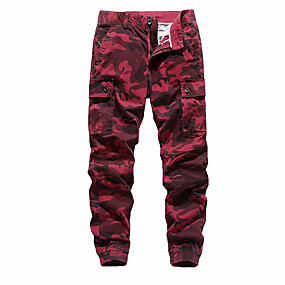 cheap Camping, Hiking & Backpacking-Men's Work Pants Hiking Cargo Pants Hiking Pants Trousers Outdoor Standard Fit Ripstop Multi-Pockets Breathable Comfortable Cotton Pants / Trousers Bottoms Army Green Burgundy Khaki Dark Blue Work