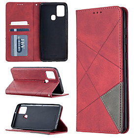 cheap Samsung Case-Case For Samsung Galaxy A21S Note 20 A31 A70E A41 A11 M11 A01 A21 S20 S20 Plus S20 Ultra A51 A71 A10S A20S Card Holder Flip Full Body Cases Solid Colored PU Leather