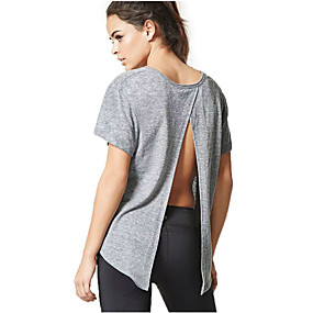 cheap Athleisure Wear-Women's Tee / T-shirt Backless Crew Neck Solid Color Cute Sport Athleisure T Shirt Top Short Sleeves Breathable Soft Comfortable Everyday Use Exercising General Use