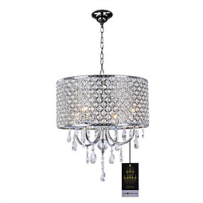 "cheap Ceiling Lights & Fans-4-Light 40(15.7"") Crystal Chandelier Metal Drum Chrome Traditional / Classic 110-120V 220-240V"