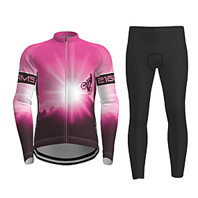 cheap Cycling & Motorcycling-21Grams Men's Long Sleeve Cycling Jersey with Tights Winter Polyester Black / Yellow Purple Red Novelty Bike Jersey Tights Clothing Suit Quick Dry Breathable Back Pocket Sports Patterned Mountain
