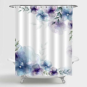 """cheap Bathroom Gadgets-retro spring floral shower curtain, blue purple flowers and green leaves art print bathroom accessories for women and girls flowered home decor, 72"""" w x 96"""" l extra long for bathtub"""