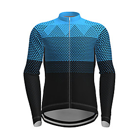 cheap Cycling & Motorcycling-21Grams Men's Long Sleeve Cycling Jersey Polyester Yellow Red Blue Plaid Checkered Gradient Novelty Bike Jersey Top Mountain Bike MTB Road Bike Cycling Quick Dry Breathable Reflective Strips Sports