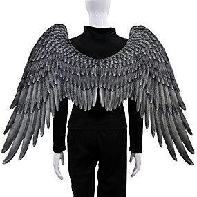 cheap Cosplay Costumes-Angel Wings Cloak Adults' Men's Cosplay Halloween Halloween Festival / Holiday Nonwoven White / Black Men's Women's Easy Carnival Costumes