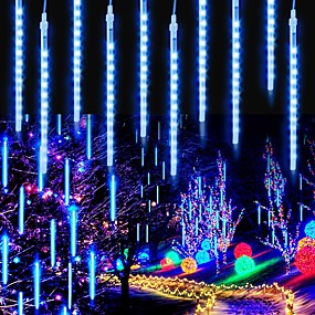 cheap LED Smart Lights-Meteor Shower Rain Lights 8inch 8 Tubes 96 LED RGB Christmas Snow Falling Icicle LED String Lights Cascading Lighting for Wedding Garden Trees Décor