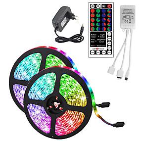 cheap LED String Lights-10M(2x5M) Waterproof Flexible LED Strip Lights RGB Tiktok Lights 2835 600LEDs 8mm 44Keys IR Remote Controller